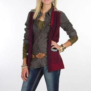 BKE Gimmicks Buckle Washed Beaded Sweater Vest M